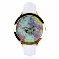 ZLYC Women Fashion World Map Watch PU Leather Band Wrist Watch White