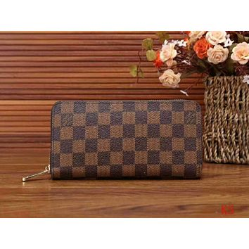 LV Louis Vuitton Classic Women's High Quality Wallet F-LLBPFSH Coffee lattice