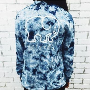 VONE05T9 Elephant and Letter Print Tie-Dyed Long Sleeve T-Shirt