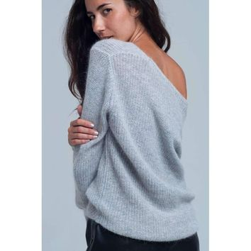 Knitted shiny grey sweater