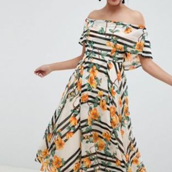 ASOS DESIGN Soft Bandeau Midi Dress In Stripe And Floral Print at asos.com