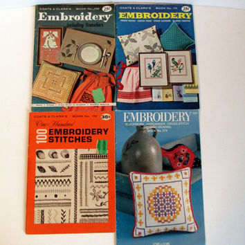 Vintage Embroidery Booklet Lot, Set of 4 Coats & Clarks, 1960's Instructional Books Craft Techniques, Including Embroidery Transfers,