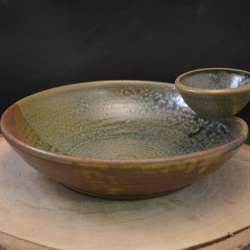 Handmade Ceramic Bread and Oil Dipping Bowl - Antique Blue and Redwood Brown