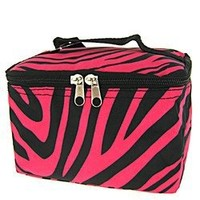 Cute! Cosmetic Makeup Bag Case Zebra Print Hot Pink Black Small
