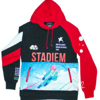 DIEM Knit Pullover Hood Stadiem In Black/Red