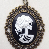 Lady Lolita Cameo Pendant Black and White