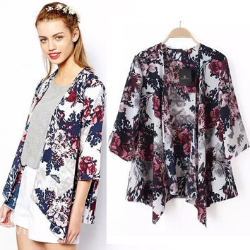 Hot New Floral Flower Women Cardigan Coat Kimono Jacket Blazer Cape Poncho S M L = 5709628417