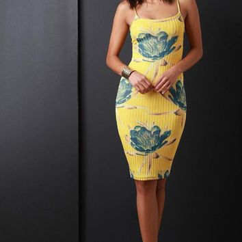 Ribbed Knit Floral Bodycon Dress