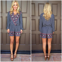 Yacht Club Printed Romper - NAVY