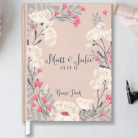 Personalized Wedding Guest Book, Hardcover, Rustic Wedding Guest Book GB106