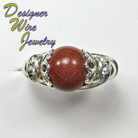 DWJ0161 Stunning Gold Sand Solitaire Silver Wire Wrap Ring All Sizes