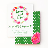 Moving Announcement Change of Address Cards Floral Watercolor Moving Cards Custom We've Moved Announcements Personalized New Home Pink Green