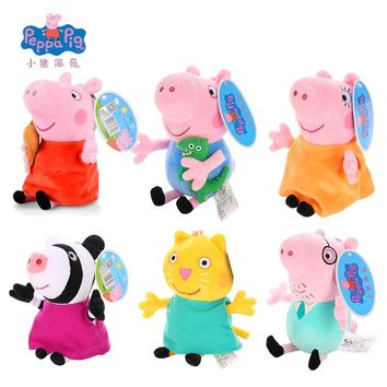 Original 19cm Peppa Pig George Animal Stuffed Plush Toys Cartoon Family Friend Pig Party Dolls For Girl Children Christmas Gifts