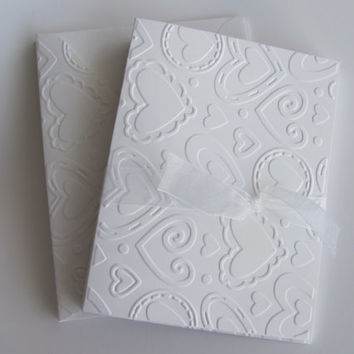 5 Heart Cards, White Embossed Valentine's Day, White Embossed Heart Note Cards, Love Stationery