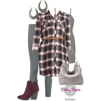 (pre-order) Set 812: Gray Plaid Shirt Tunic (bag & Shoes sold separate)