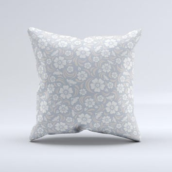 Subtle White and Blue Floral Laced V32 Ink-Fuzed Decorative Throw Pillow
