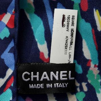 Chanel Scarf Scarves Stole Airline Airplane Print Silk 100% Navy Auth Mint Rare