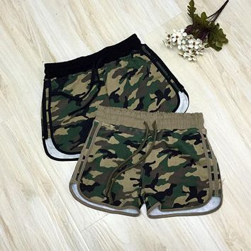 2016 fashion Camouflage shorts casual basic new board shorts Women Loose Drawstring hot Short pant Camouflage pantaloncini donna