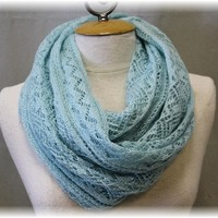 SC23 COZY KISS in blue, super soft lightweight geometric knit infinity scarf-scarves, scarf, shawl scarf, knit scarves, infinity scarves,handmade scarves, tube scarf, knit scarf infinity, crochet scarves, eternity scarf, unique scarves, infinity scarf, co