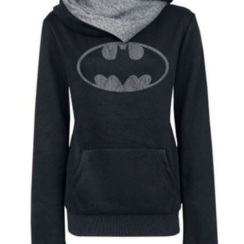 Black Printed Fleece Long-Sleeved Hooded Coat