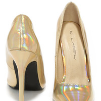 Galactic Gala Gold Hologram Pointed Pumps