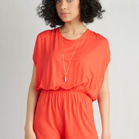 70s Short Length Short Sleeves Canoe Handle This? Romper in Poppy by ModCloth