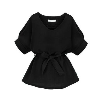 Elegant Women's Tops And Blouses Summer New Ladies Black Half Sleeve V Neckline Self Tie Blouse