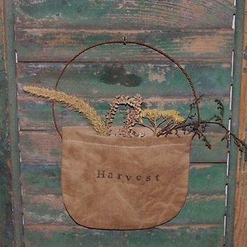 Primitive Pocket - Garden Decor - Rustic Floral - Early Style - HARVEST - sweet annie yarrow foxtail
