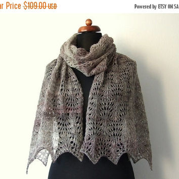 PRE XMAS SALE wool lace shawl, knitted lace stole, rustic brown woolen wrap