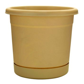 "Southern Patio™ RR2006OT Rolled Rim Planter w/Attached Saucer, 20"", Oxford Tan"