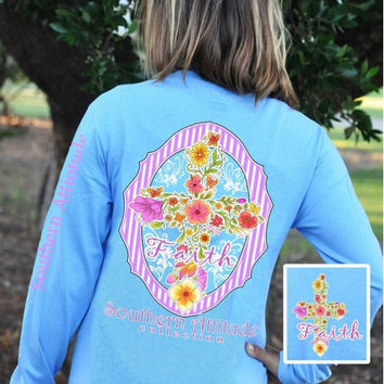 Southern Attitude Preppy Faith Flower Cross Blue Long Sleeve T-Shirt
