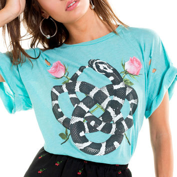Snake Charmer Destroyed Sonic Tee - Wildfox