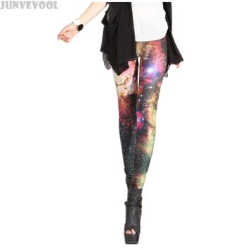 Pink Galaxy Leggings Women Beauty Pants Workout Clothes Shining Stars 3D Full Print Space Girl Casual Stretchy Fitness Capris