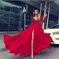 Elegant off shoulder v neck women long party dress Ladies side split vestidos Sexy pleated slim dresses festa 2019