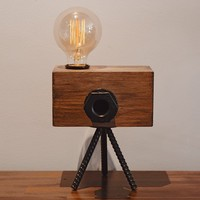 Real Wood Table Lamp Industrial Vintage Edison Bulb - Creative Camera Shape Unique Style - Free Bulb Included - Home Decor Furniture