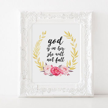 "Bible verse ""God is in her she will not fall"" Bible verse poster Home decor Gift idea Bible verse quote Instant download Printable poster"