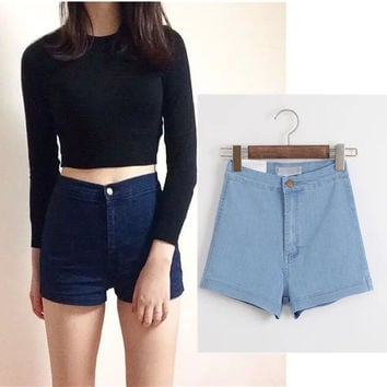 Summer Women's Fashion High Rise Rinsed Denim Denim Shorts [6034329153]
