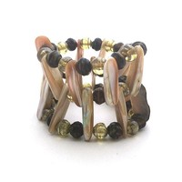 Triple Layer Wrap Bead Shell Handmade Stretch Bracelet