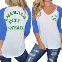 Seattle Seahawks Womens Vintage Raglan Sleeve T-Shirt | SportyThreads.com