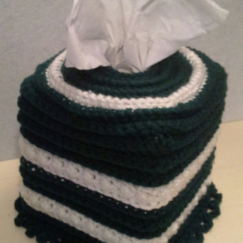 Crochet Square Tissue Box Cover, home accents, home decor, evergreen, white