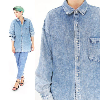 1990s Acid Wash Denim Shirt Vintage Mens Denim Shirt Long Sleeve Button Down Shirt Denim Work Shirt Grunge Unisex Collared Shirt (L/XL)