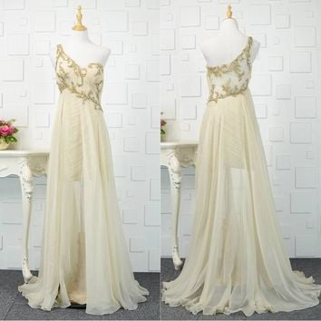Light Champagne Chiffon Prom Dress Long Gold Sequined Modern Women Party Formal Gowns One Shoulder Flowing Dresses Summer Gown