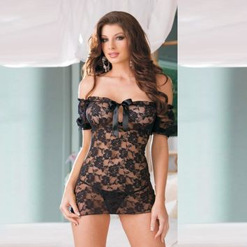 Hot Deal On Sale Cute Plus Size Black Lace Sleepwear Sexy Dress Summer Exotic Lingerie [6596475843]