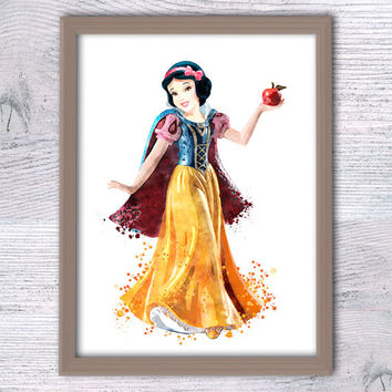 Snow White art print Girls room decor Snow White watercolor poster Disney princess wall decor Nursery room wall art Kids room decor V196
