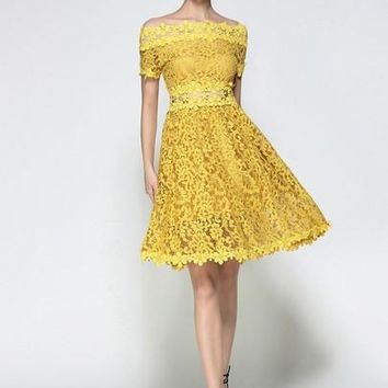 Yellow Short Sleeve Slash Neck Women's Lace Dress