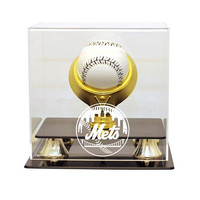 New York Mets MLB Single Baseball Gold Ring Display