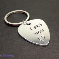 I Pick You, Hand Stamped Guitar Pick Keychain, Aluminum Key Chain