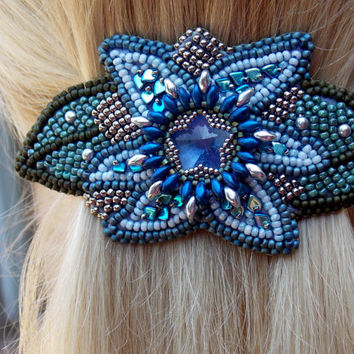 Free Shipping, Bead Embroidery,  Barrette,  Seed bead jewelry,Floral jewelery, Swarovski jewelry, Swarovski,  Blue, Steel, Green, Hair clip
