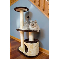 Iconic Pet Three Tier Cat Tree Condo with multiple Posts - Beige/Brown