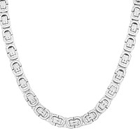 "Custom Sterling Silver Iced Out Byzantine Link 20"" Chain"